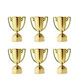 Toyvian Mini Trofeos de Oro para Niños Premio de Oro para Niños Ganadores Trofeo de Niños Rellenos de Bolsa 12 Piezas