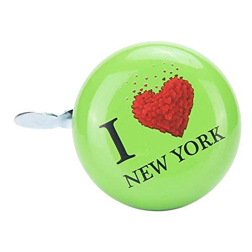 Fahrradklingel Fahrradklingel, Personalisierte Grün I Love New York Printed Glocke, Bike Bell for Erwachsene und Kinder, Crisp Lautes Wohlklang, Mountainbike Bell Rennrad Bell-Radsport Zubehör for Kin