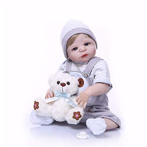 22 Pulgadas 55cm Cute Alive Modern Lucky Dog Reborn Baby Dolls Cuerpo Completo Silicona Vinilo Recién Nacido Niño Muñeca Niño Cumpleaños Regalo de Santa