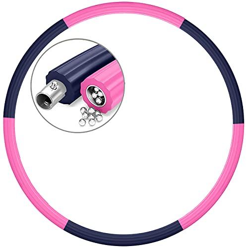 MAXKU Hula Fitness Hoop, Hoola Hoop Reifen Erwachsene Zur Gewichtsreduktion und Massage Verwendet Werden KöNnen,6 Segmente Abnehmbarer Hula Hoop Geeignet Für Gewichtsverlust/Fitness/Training