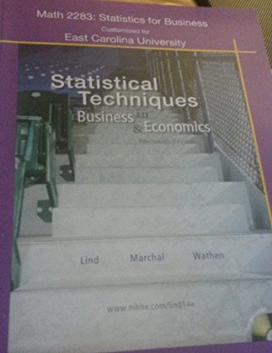 (Statistics for Business Customized for Ecu) Statistical Techniques in Business & Economics