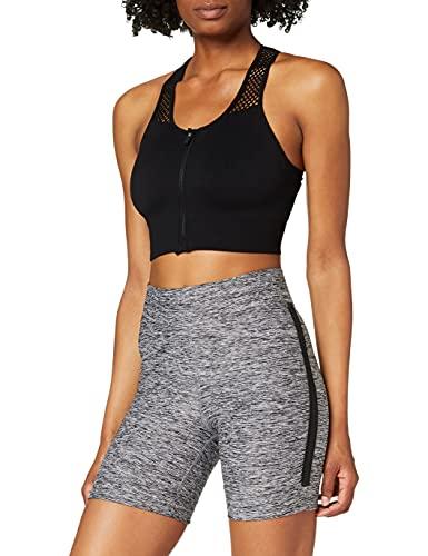 Amazon-Marke: AURIQUE Damen Sport Shorts Side Stripe Cycling, Grau (Grey Marl), 40, Label:L