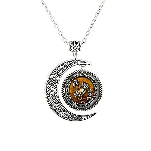 qws Athena's Owl Moon Necklace - Bible Quote- Religious Jewelry Moon Necklace