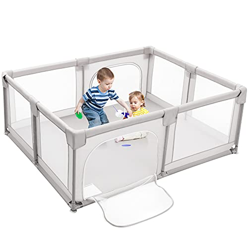 Costzon Baby Playpen, Large Playpen for Toddlers Baby, Portable Baby Fence Activity Center, Infant Playards with Gate,...
