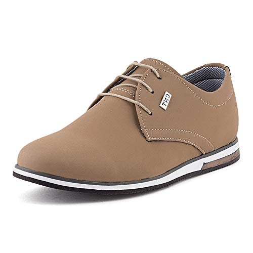 Fusskleidung Herren Business Schnürer Casual Halb Sneaker Schuhe Anzugschuhe Beige EU 42