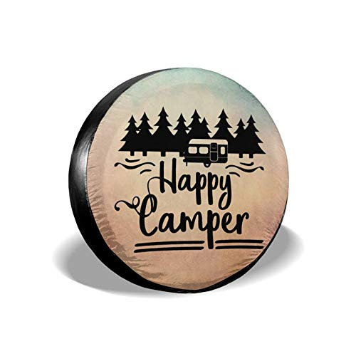 Happy Camper Waterproof Tire Cover, Upgrade Tire Sun Protector for RV Jeep Wrangler Trailer Campers...