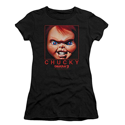 Playera infantil de película de terror Chucky Box Close Up Juniors Sheer - Negro - X-Large