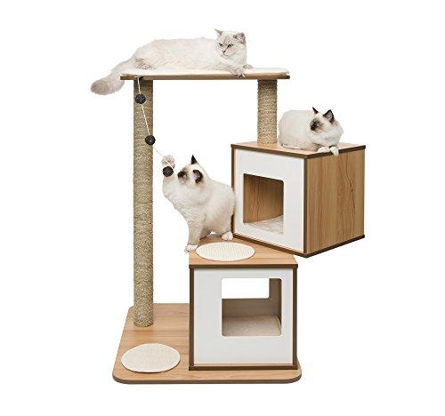 """Vesper Katzenmöbel """"Double"""" walnut - zwei Kubus-Höhlen mit einer Plattform"""