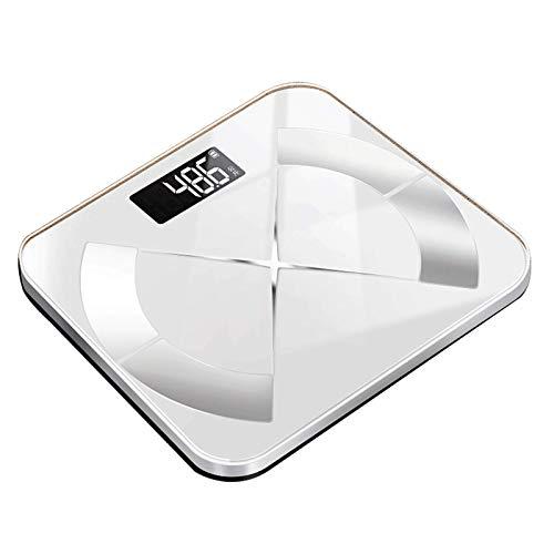LJKD Báscula de Peso Auto Recargable báscula de baño Inteligente báscula de Peso Digital BMI analizador de componentes de pesaje Muscular,Blanco