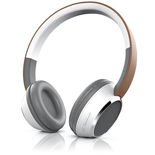 CSL - Bluetooth Kopfhörer - Wireless Headphone - On Ear Ohrhörer - Bluetooth Version 4.0 - braun weiß