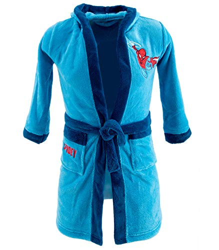 Marvel Ultimate Spiderman Jungen Bademantel (Hellblau, 116-122)