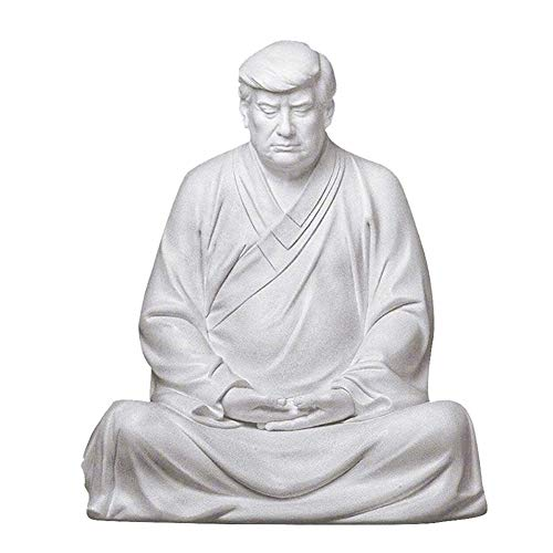 Garden Statues, Yard Decor, Garden Decor for Outside Statues,Resin Craft Buddha Trump Statue Meditation Figurine Funny Table Ornament