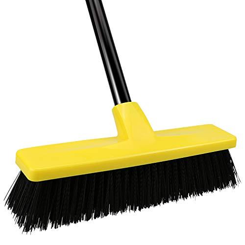 Push Broom with Long Handle, Indoor Outdoor Broom with Stiff Bristles,Deck Brush Floor Scrub Brush Cleans Sidewalk Driveway Yard Patio Tiles Wall and Deck