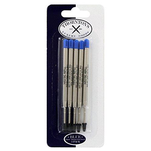 Thornton's Luxury Goods Premium Ballpoint Pen Refill to Fit Parker Style Ballpoint Pens 1.0mm Medium Point Blue Ink 5-Count