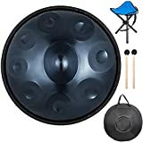 22 Inches 9 Notes D Minor Handpan Drum Manual Tuning Nitrided Steel Hand Drum Percussion Instrument with Soft Hand Pan Bag Drumsticks and Foldable Drum Tripod(Blue)