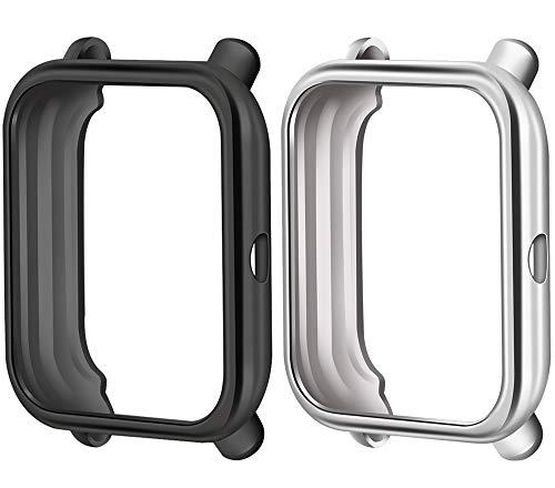 Cytech Funda para Xiaomi Huami Amazfit Bip Protector de Pantalla, 2 Piezas Funda de Suave TPU Cubierta Cover Case (Negro/Plata)