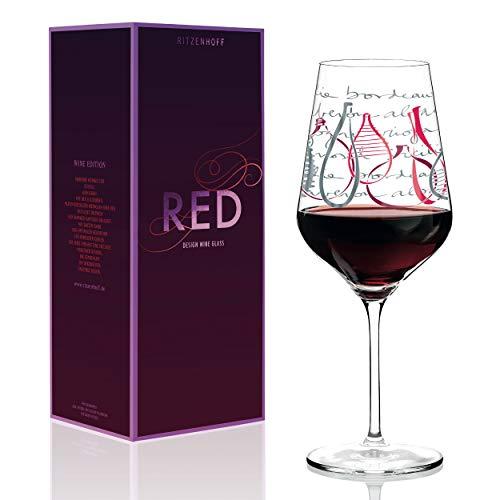 RITZENHOFF Red Rotweinglas von Virginia Romo, aus Kristallglas, 580 ml, mit edlen Platinanteilen