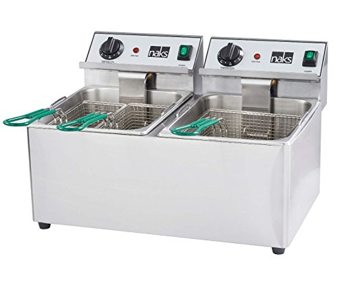 HOODMART NAKS FD-30 Commercial Countertop Deep Fryer with 30 lb, Silver, 0