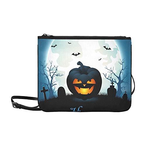 WYYWCY Halloween Friedhof Fledermäuse Benutzerdefinierte hochwertige Nylon Slim Clutch Bag Cross-Body Bag Umhängetasche