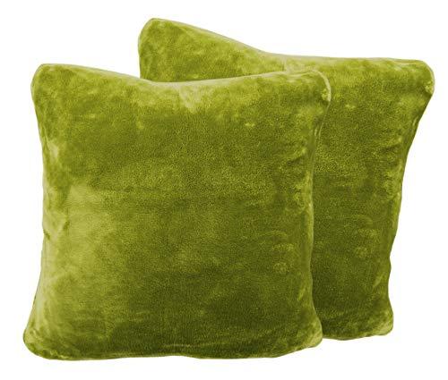 2er Pack Kuschelkissen Premium Cashmere Feeling Kissen 50x50 cm Flauschiges Sofakissen (Limone)