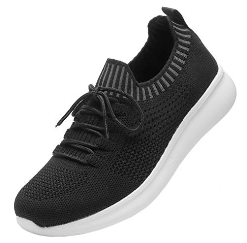 DADAWEN Women's Sneakers Lightweight Casual Breathable Athletic Walking Running Shoes Black US Size 8.5