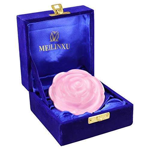 Keepsake Urns for Human Ashes Small - Mini Funeral Cremation Box Adult - Metal Hand Made - Fits a Small Amount of Cremated Remains - Display Burial at Home or Office Decor ( Pink Rose Flower Shape