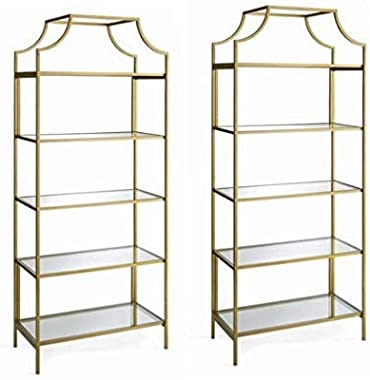 Better Homes and Gardens Nola 5-Open Shelves Bookcase, (Gold, Set of 2, Bookcase)