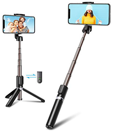 Bovon Bastone Selfie, Mini Estensibile 3 in 1 Selfie Stick Treppiede Smartphone con Telecomando Wireless Compatibile con iPhone 12 Mini/12 Pro/12/11 PRO Max/11 PRO/XS/XS Max, Galaxy S20 Plus/S10, ECC