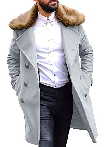 UGFashions Bane Coat Dark Knight Rises White Faux Fur Shearling Trench Leather Jacket, Distressed Brown, XX-Large
