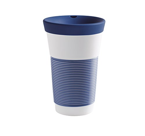 Kahla cupit Becher 0,47 l mit Trinkdeckel in deep sea Blue, Coffee to Go Mug aus Porzellan mit innovativer Magic Grip Beschichtung, Pro Öko, 10 x 6 x 16.7 cm