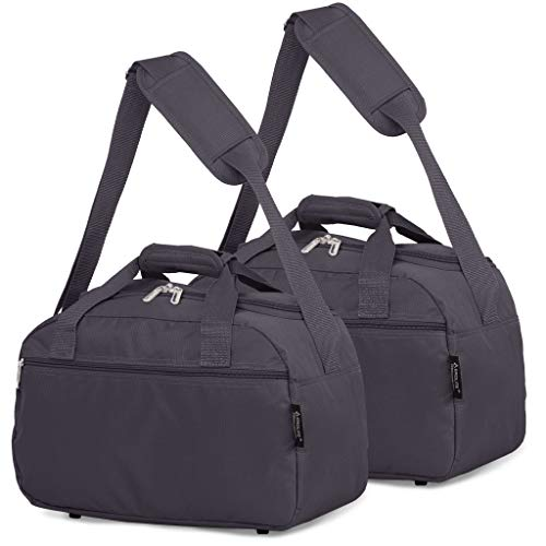 Aerolite 40x20x25 New 2021 Ryanair Maximum Size Holdall Cabin Luggage Under Seat Flight Bag (2X Charcoal)