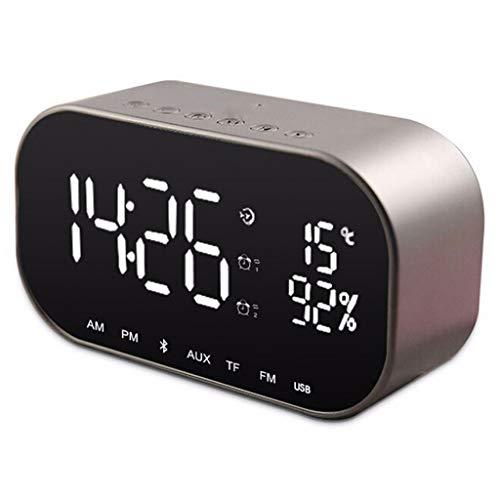 XiY Alarma Portátil Inalámbrico Bluetooth 4.2 Espejo Reloj De Escritorio del Altavoz Mini Inicio Alquiler De Subwoofer De Dos Canales De Altavoces De Plata Gris,Metálico