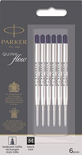 Parker QUINKflow Ballpoint Pen Ink Refills, Medium Tip, Black, 6 Count Value Pack (2025154)