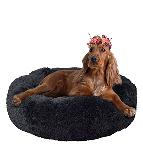 FuzzBall Fluffy Luxe Pet Bed, Anti-Slip, Waterproof Base, Machine Washable, Durable – for Dogs & Cats, 3 Colors Available