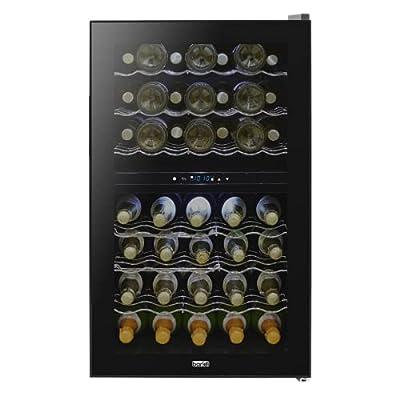 Baridi 43 Bottle Dual Zone Wine Cooler, Fridge, Digital Touch Screen Controls & LED Light, Black by Dellonda