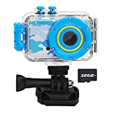 Luoba Kids Camera Waterproof Children Digital Camera for Kids Birthday Gifts Age 3-10,FHD Video Toddler Toy Camera for 3 4 5 6 7 8 Year Old Boys with 32GB SD Card (Blue)