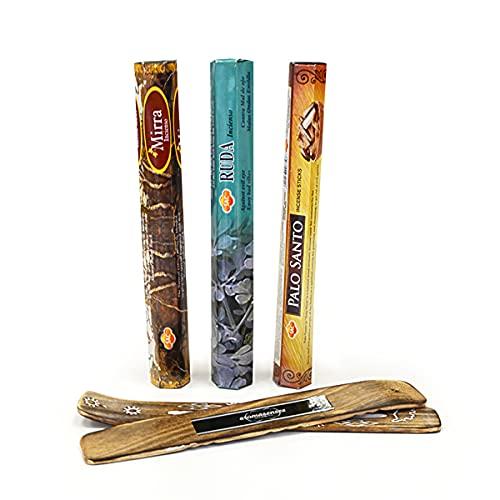 Sac inciensos 3 cajetillas con 20 Sticks Cada una, Mirra, Ruda y Palo Santo + Tablilla Aromasenses...