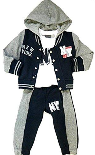 Mode Oasis Baby Peuter Kids Jongen 3 Stuk NY Hooded Tracksuit Jogpak Marine/Grijs met Zakken 6 Maanden tot 8 Jaar