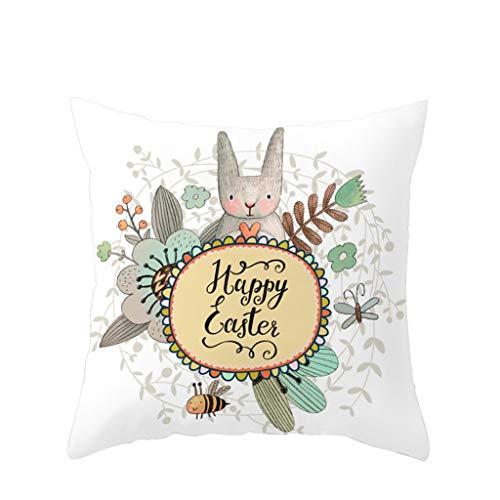 LEEDY 2019 Happy Easter Rabbit Print Funda de Almohada de poliéster Sofá Funda de cojín para Coche Decoración para el hogar