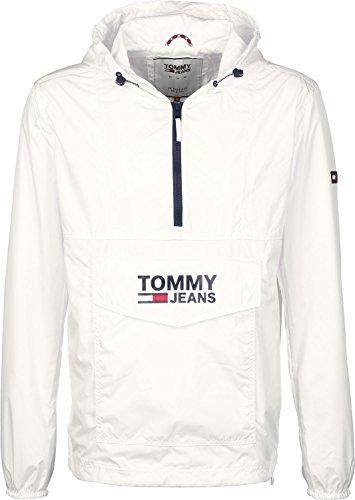 Tommy Jeans Herren POP OVER ANORAK 55 Langarm Jacke Jacke Weiß (Classic White 100) Small