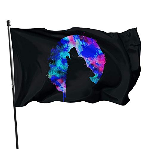 huatongxin Garden Patry Outdoor-Flagge, Howling Wolf Moon Flag 3x5 Ft, Ösen Tough Durable Fade Resistant für Allwetter im Freien