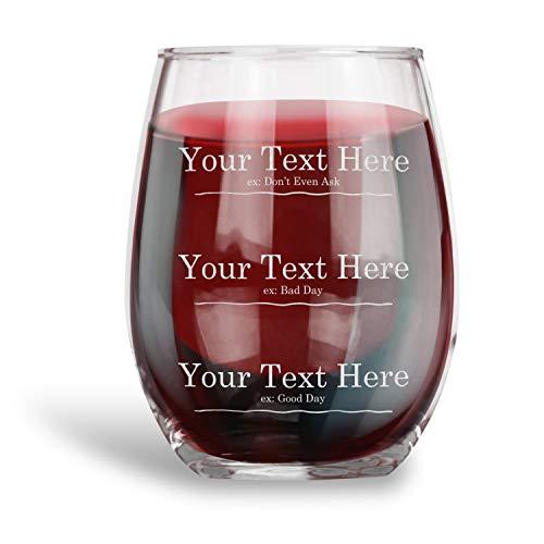 Gepersonaliseerd Grappig meten Stemless Wijnglas Gegraveerd Wijnglas met Uw Aangepaste Tekst 3 Lijnen Humor Drinkware Grappig Gift