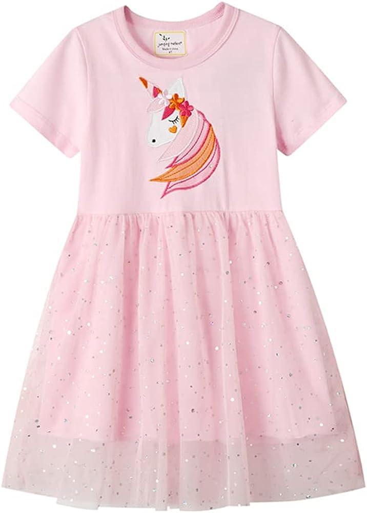 EIAY Shop Kids Toddler Little Girls Cotton Knit Casual Sequin Tutu Dress Short Sleeve