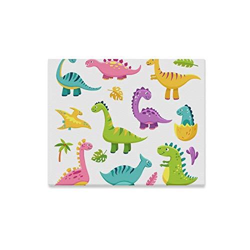 XiexHOME Einzigartige Wandfarbe Coole Baby Dinosaurier Familie Cartoon Büro Wandfarbe Bedruckte Leinwand Panels Print Dekor für Zuhause 20x16 Zoll