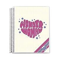 Wonder Woman x Erin Condren 8.5インチ x 11インチ スパイラルコイルノート (ドットグリッド、間隔5mm)- Starstruck Designer 交換可能なカバー 160ページ 80枚 厚手の80#モホークペーパー80枚