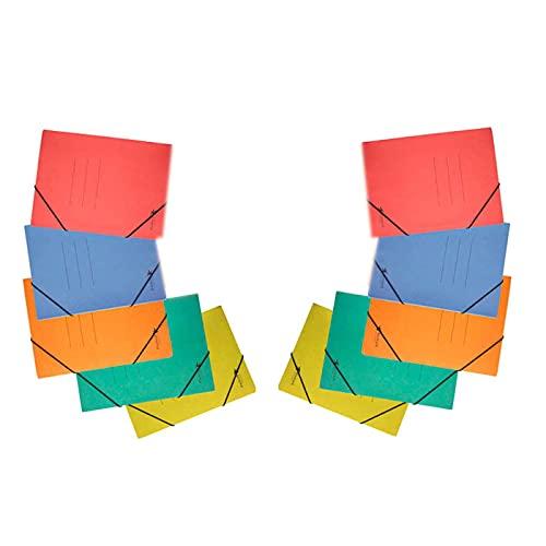 Pack de 10 carpetas de cartón de 31,7 x 23,6 cm, tamaño folio, con gomas y solapas, de color surtido. Juego de 10 carpetas para guardar papeles, ideal para el hogar, oficina o colegio