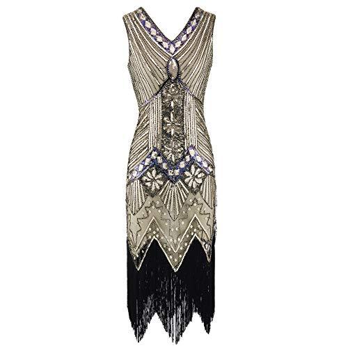 Xingsiyue Mujer 1920s Flapper Vestido, Gatsby Vintage Plus Size Roaring 20s Vestidos Borla Lentejuela Fiesta Prom Vestido de Noche (Dorado,58)