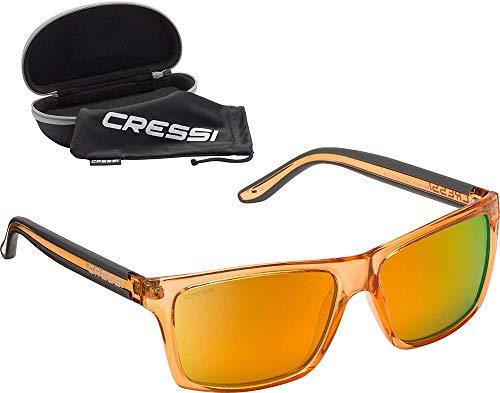 Cressi Unisex-Erwachsener Rio Sunglasses Premium Sport Sonnenbrille Polarisierte 100% UV-Schutz, Brillengestell Crystal Orange-Orange Verspiegelte Linsen, Einheitsgröße