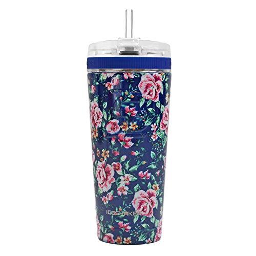 Ice Shaker 26oz con tapa flexible y pajita – Vaso de acero inoxidable y botella de agua aislada – Vaso aislado al aspiradora para bebidas calientes y...