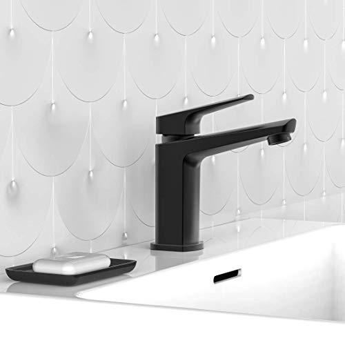 SCHÜTTE 34016 RAVEN Wasserhahn fürs Bad Schwarz, Badarmatur mit Ablaufgarnitur, Design Einhebelmischer, Mischbatterie für Badezimmer inkl. Montageset in Matt